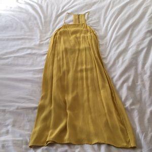 Mustard Yellow Midi Slip Dress